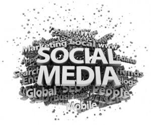 Eine Tagcloud mit Social Media-Begriffen